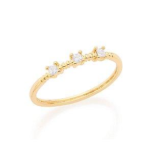 Anel Skinny Ring Composto Por Zircônias Rommanel