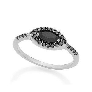 Anel Skinny Ring Composto Por Cristal Navete Rommanel