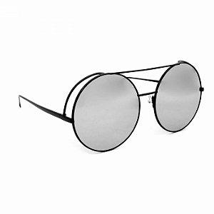 Óculos de Sol Top Bar Redondo Preto Espelhado