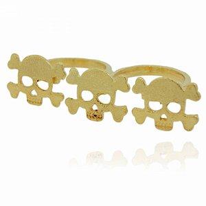 Anel Duplo Dourado Caveiras