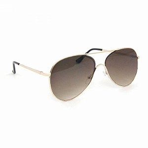 Óculos de Sol Aviador Dourado com Lente Marrom