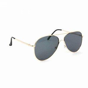 Óculos de Sol Aviador Dourado com Lente Preta
