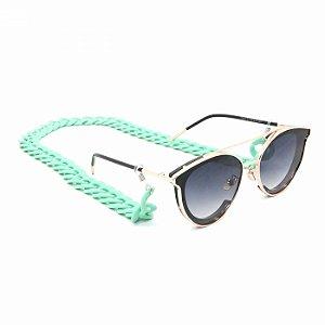 Cordão para Óculos de Elos Verde Água