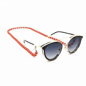 Cordão para Óculos de Bolinha Laranja
