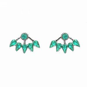 Brinco Ear Jacket com Pedras Verde Esmeralda