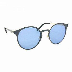 Óculos de Sol Dourado e Azul com Lente Transparente