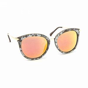 Óculos de Sol Estilo Gatinha Marmorizado Lente Espelhada Laranja