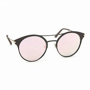 Óculos de Sol Estilo Top Bar Redondo Rosa Espelhado