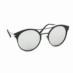 Óculos de Sol Estilo Top Bar Redondo Preto Espelhado