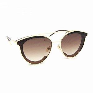 Óculos de Sol Estilo Top Bar com Lente Marrom