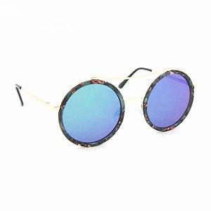 Óculos de Sol Redondo Floral Espelhado