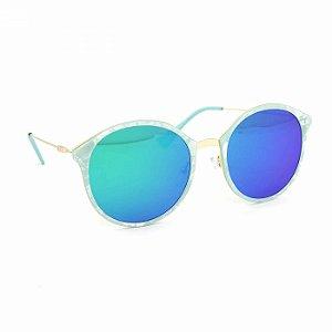Óculos de Sol Marmorizado Redondo Lente Azul Espelhada