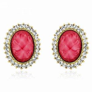 Brinco Oval Pedra Rosa e Strass