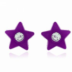 Brinco Estrela Roxo Neon