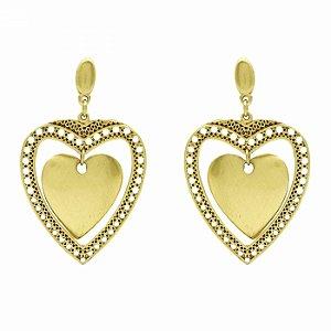 Brinco Dourado Coração Duplo