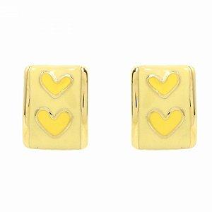 Brinco Dourado Chapa Amarelo com Corações