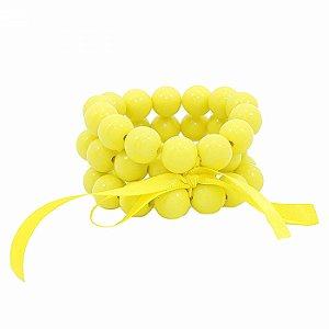Pulseira Tripla de Bolas Amarelas