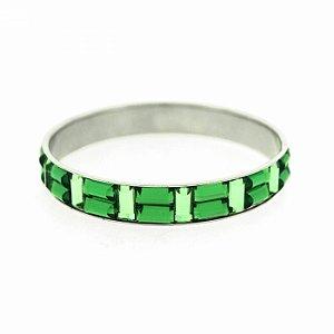 Pulseira Prateada com Pedras Verdes