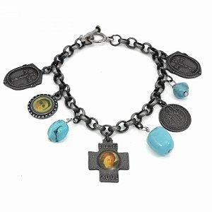 Pulseira Prata Velha com Pingentes Religiosos e Pedras