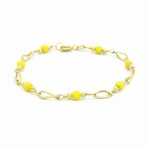 Pulseira Dourada Folheado com Bolinhas Amarelas