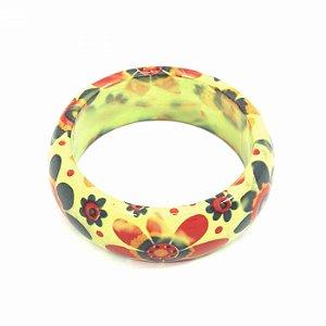Pulseira Bracelete Verde com Flores