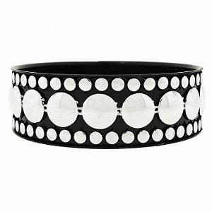 Pulseira Bracelete Preta com Bolinhas Prateadas