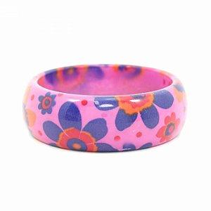 Pulseira Bracelete Pink com Flores