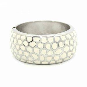 Pulseira Bracelete Larga com Detalhe Off White