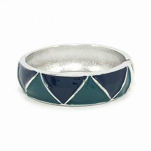 Pulseira Bracelete Esmaltada na cor Azul Marinho e Verde