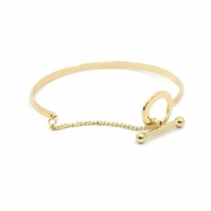 Pulseira Bracelete Dourada com Corrente