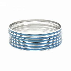 Kit Pulseira Prateada com Resina Azul