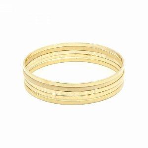 Kit Cinco Pulseiras Douradas