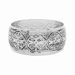 Bracelete Prateado com Detalhes Pretos