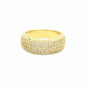 Anel Dourado Cravejado de Zircônias Folheado à Ouro 18k