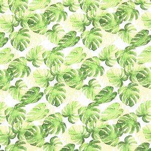 Lenço Branco Quadrado Estampa Folhas