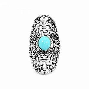 Maxi Anel com Pedra Azul Turquesa