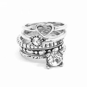 Kit de Anéis Prateados com Coraçãozinho