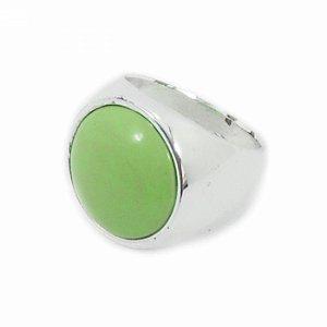 Anel Prateado Pedra Redonda Verde