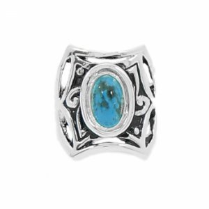 Anel Prateado com Pedra Oval  Azul