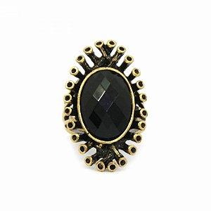 Anel Ouro Velho com Pedra Preta Oval