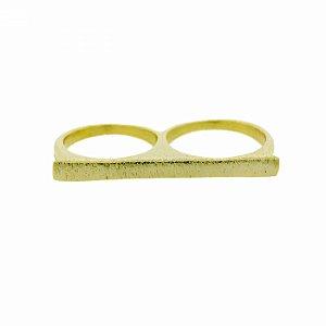 Anel Duplo Dourado Escovado