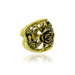 Anel Dourado Vazado Flor