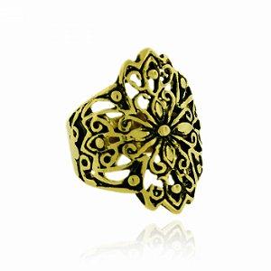 Anel Dourado Vazado