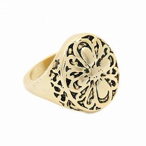 Anel Dourado Oval com Flor