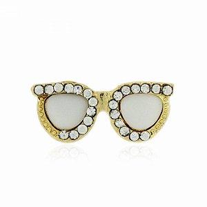 Anel Dourado Óculos Branco