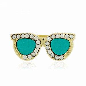 Anel Dourado Óculos Azul