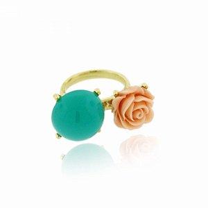 Anel Dourado Flor Laranja e Pedra Verde