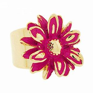Anel Dourado de Flor Rosa