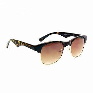 Óculos de Sol Clubmaster Marrom e Oncinha
