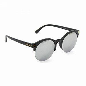 Óculos Redondo Preto com Lente Espelhada